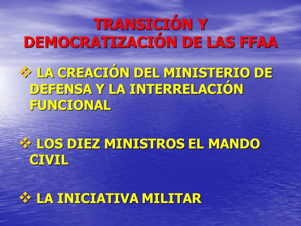 TRANSICIÓN Y DEMOCRATIZACIÓN DE LAS FFAA LA CREACIÓN DEL MINISTERIO DE DEFENSA Y LA INTERRELACIÓN FUNCIONAL LA CREACIÓN DEL MINISTERIO DE DEFENSA Y LA
