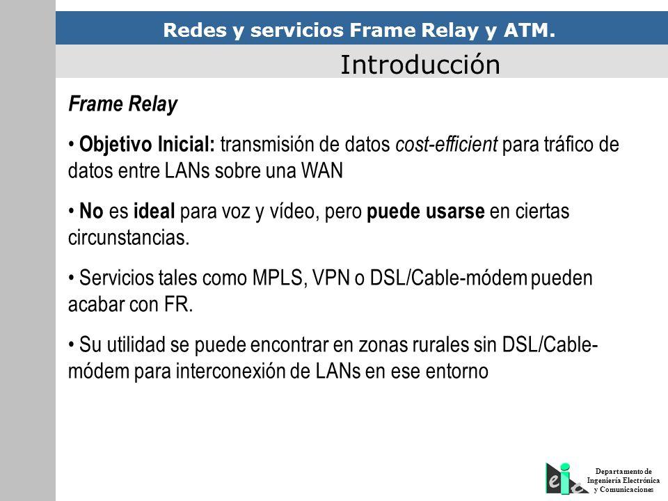 Redes y servicios Frame Relay y ATM. Departamento de Ingeniería Electrónica y Comunicaciones Introducción Frame Relay Objetivo Inicial: transmisión de