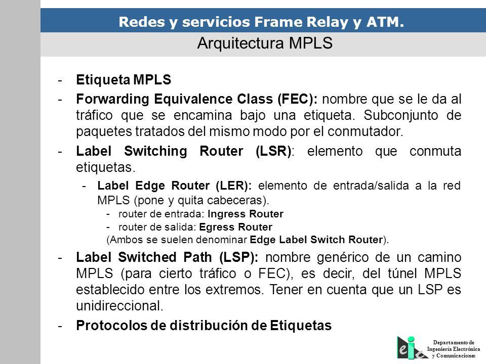 Redes y servicios Frame Relay y ATM. Departamento de Ingeniería Electrónica y Comunicaciones -Etiqueta MPLS -Forwarding Equivalence Class (FEC): nombr