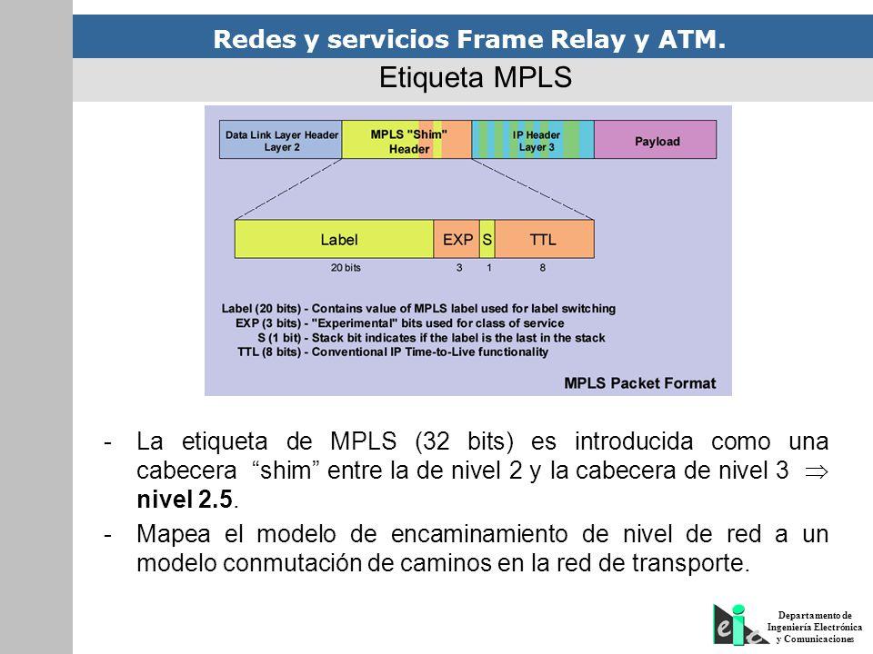 Redes y servicios Frame Relay y ATM. Departamento de Ingeniería Electrónica y Comunicaciones -La etiqueta de MPLS (32 bits) es introducida como una ca