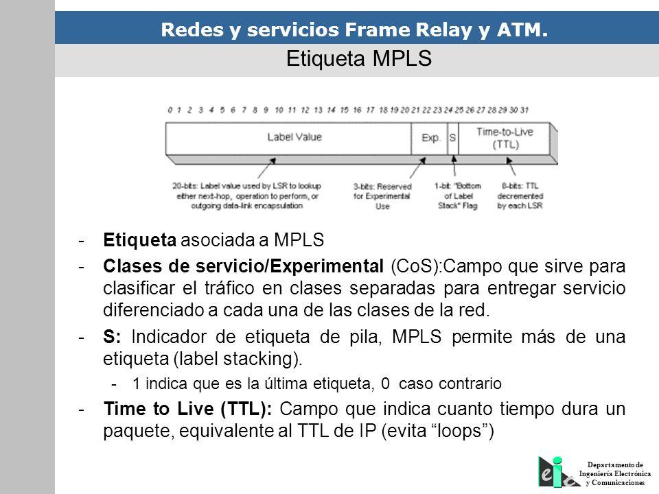 Redes y servicios Frame Relay y ATM. Departamento de Ingeniería Electrónica y Comunicaciones -Etiqueta asociada a MPLS -Clases de servicio/Experimenta