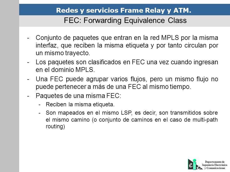 Redes y servicios Frame Relay y ATM. Departamento de Ingeniería Electrónica y Comunicaciones FEC: Forwarding Equivalence Class -Conjunto de paquetes q