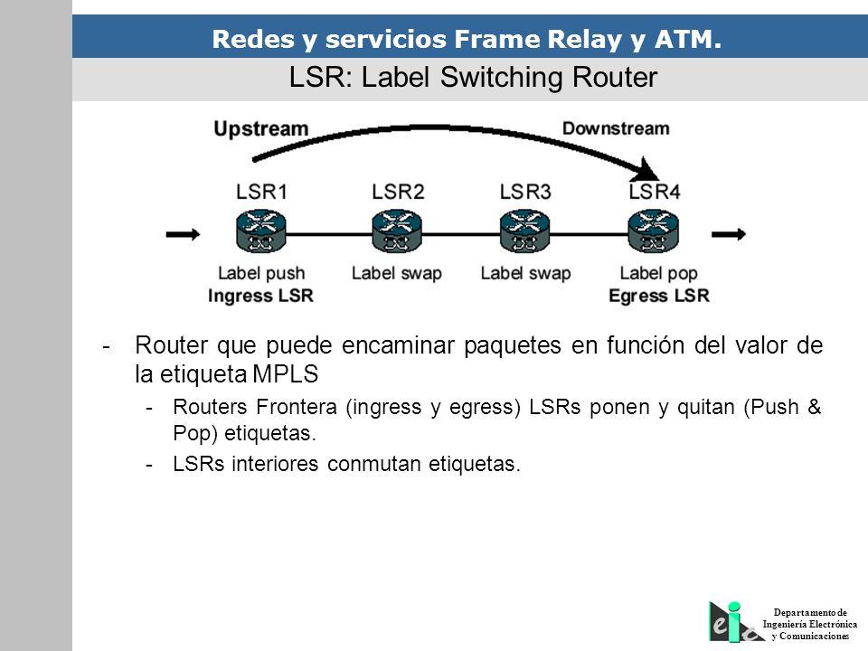 Redes y servicios Frame Relay y ATM. Departamento de Ingeniería Electrónica y Comunicaciones LSR: Label Switching Router -Router que puede encaminar p