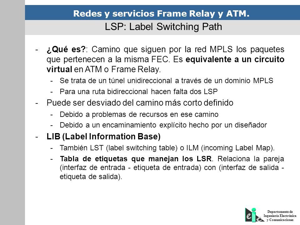 Redes y servicios Frame Relay y ATM. Departamento de Ingeniería Electrónica y Comunicaciones LSP: Label Switching Path -¿Qué es?: Camino que siguen po