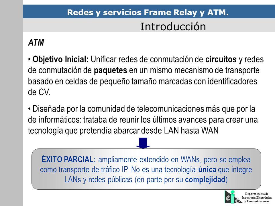 Redes y servicios Frame Relay y ATM. Departamento de Ingeniería Electrónica y Comunicaciones Introducción ATM Objetivo Inicial: Unificar redes de conm