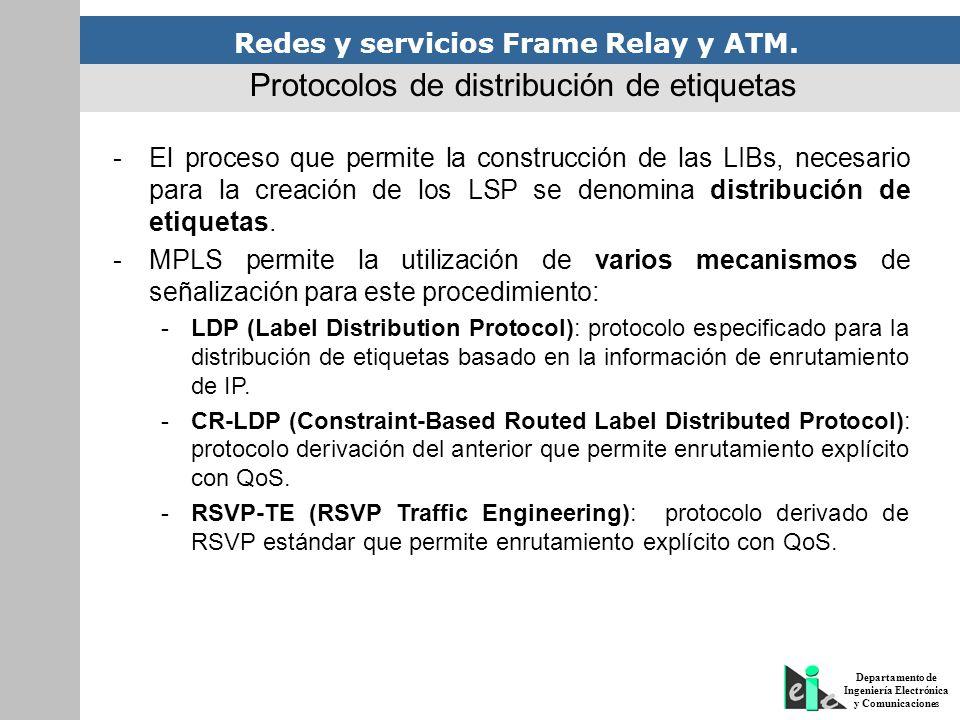 Redes y servicios Frame Relay y ATM. Departamento de Ingeniería Electrónica y Comunicaciones Protocolos de distribución de etiquetas -El proceso que p