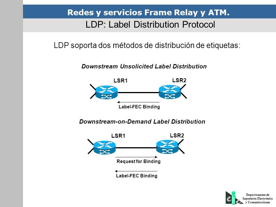 Redes y servicios Frame Relay y ATM. Departamento de Ingeniería Electrónica y Comunicaciones LDP soporta dos métodos de distribución de etiquetas: LDP