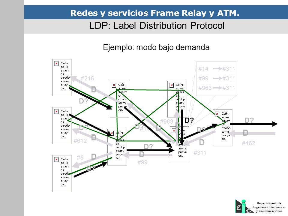 Redes y servicios Frame Relay y ATM. Departamento de Ingeniería Electrónica y Comunicaciones Ejemplo: modo bajo demanda LDP: Label Distribution Protoc