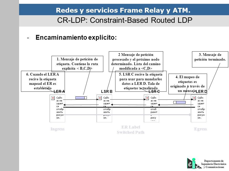 Redes y servicios Frame Relay y ATM. Departamento de Ingeniería Electrónica y Comunicaciones CR-LDP: Constraint-Based Routed LDP -Encaminamiento explí
