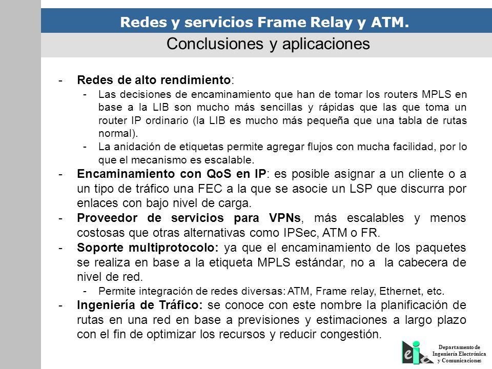 Redes y servicios Frame Relay y ATM. Departamento de Ingeniería Electrónica y Comunicaciones -Redes de alto rendimiento: -Las decisiones de encaminami