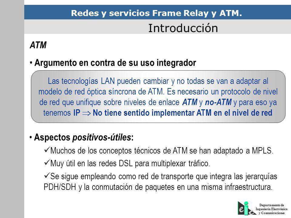 Redes y servicios Frame Relay y ATM. Departamento de Ingeniería Electrónica y Comunicaciones Introducción ATM Argumento en contra de su uso integrador