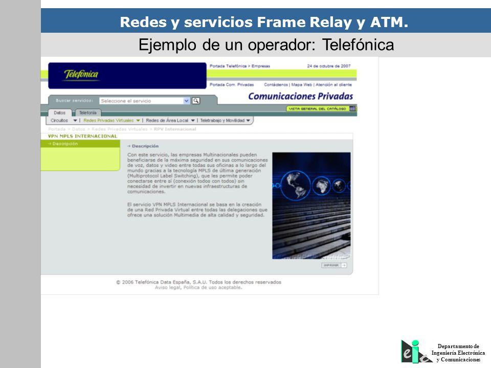 Redes y servicios Frame Relay y ATM. Departamento de Ingeniería Electrónica y Comunicaciones Ejemplo de un operador: Telefónica