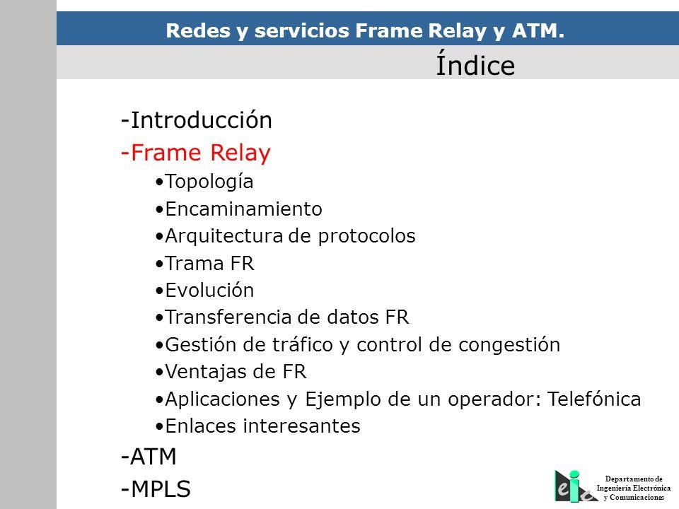 Redes y servicios Frame Relay y ATM. Departamento de Ingeniería Electrónica y Comunicaciones Índice -Introducción -Frame Relay Topología Encaminamient