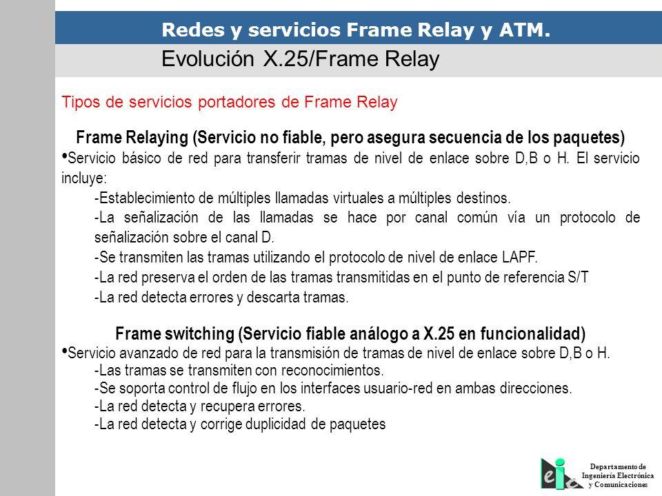 Redes y servicios Frame Relay y ATM. Departamento de Ingeniería Electrónica y Comunicaciones Evolución X.25/Frame Relay Tipos de servicios portadores