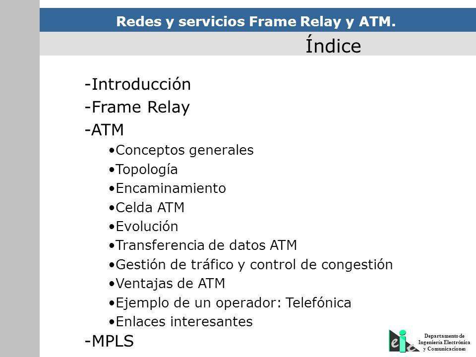 Redes y servicios Frame Relay y ATM. Departamento de Ingeniería Electrónica y Comunicaciones Índice -Introducción -Frame Relay -ATM Conceptos generale