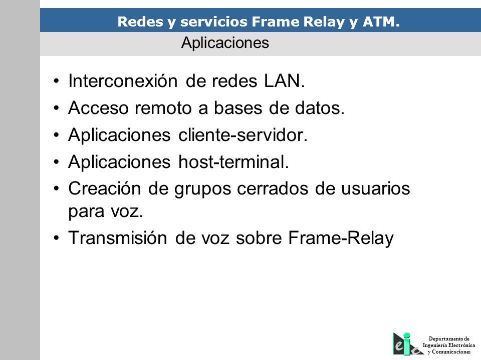 Redes y servicios Frame Relay y ATM. Departamento de Ingeniería Electrónica y Comunicaciones Interconexión de redes LAN. Acceso remoto a bases de dato