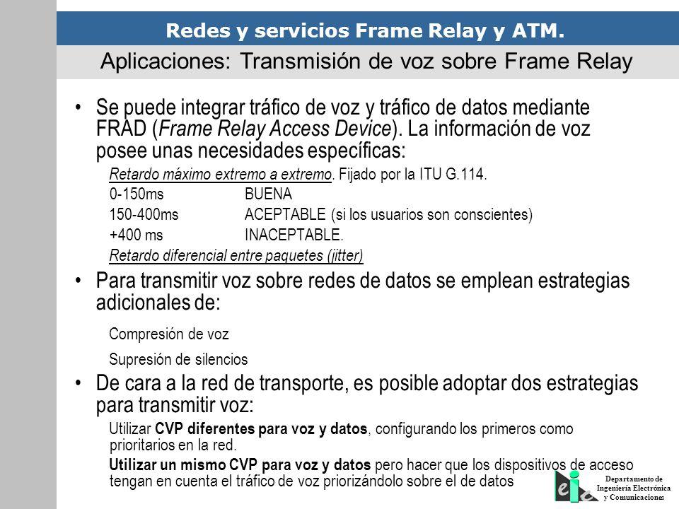 Redes y servicios Frame Relay y ATM. Departamento de Ingeniería Electrónica y Comunicaciones Se puede integrar tráfico de voz y tráfico de datos media