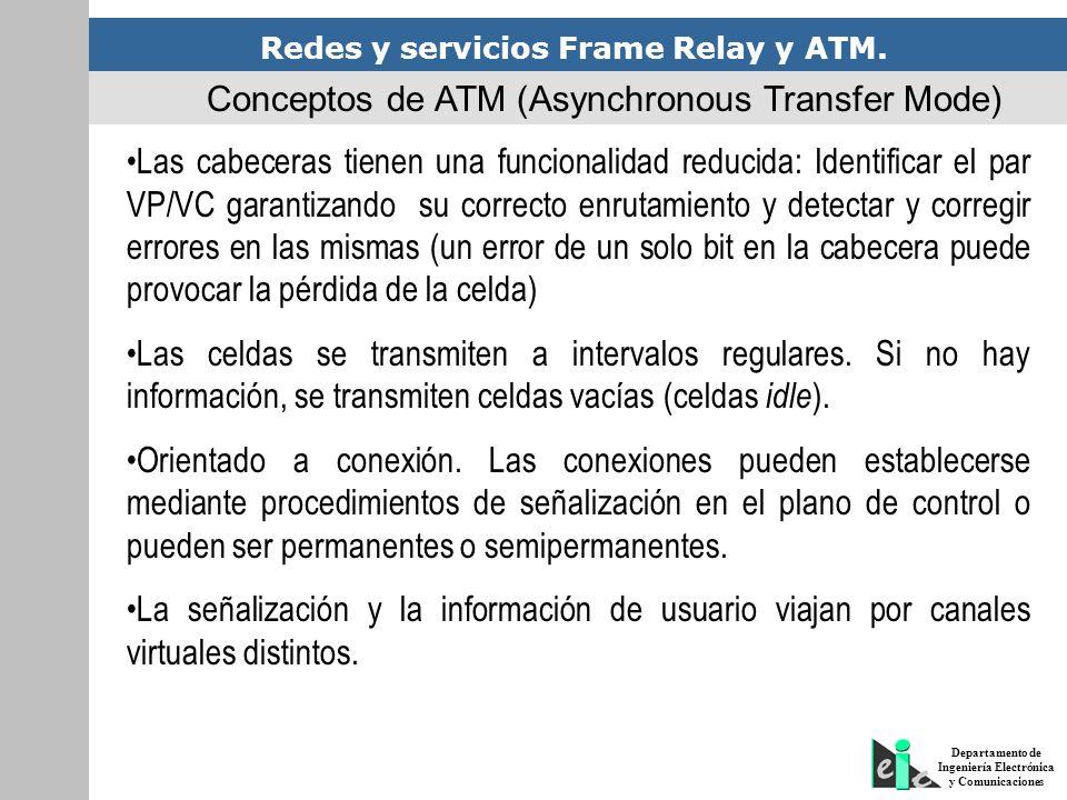 Redes y servicios Frame Relay y ATM. Departamento de Ingeniería Electrónica y Comunicaciones Las cabeceras tienen una funcionalidad reducida: Identifi