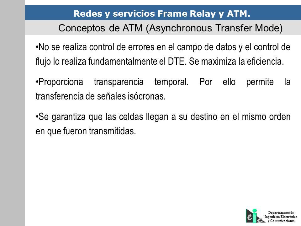 Redes y servicios Frame Relay y ATM. Departamento de Ingeniería Electrónica y Comunicaciones No se realiza control de errores en el campo de datos y e
