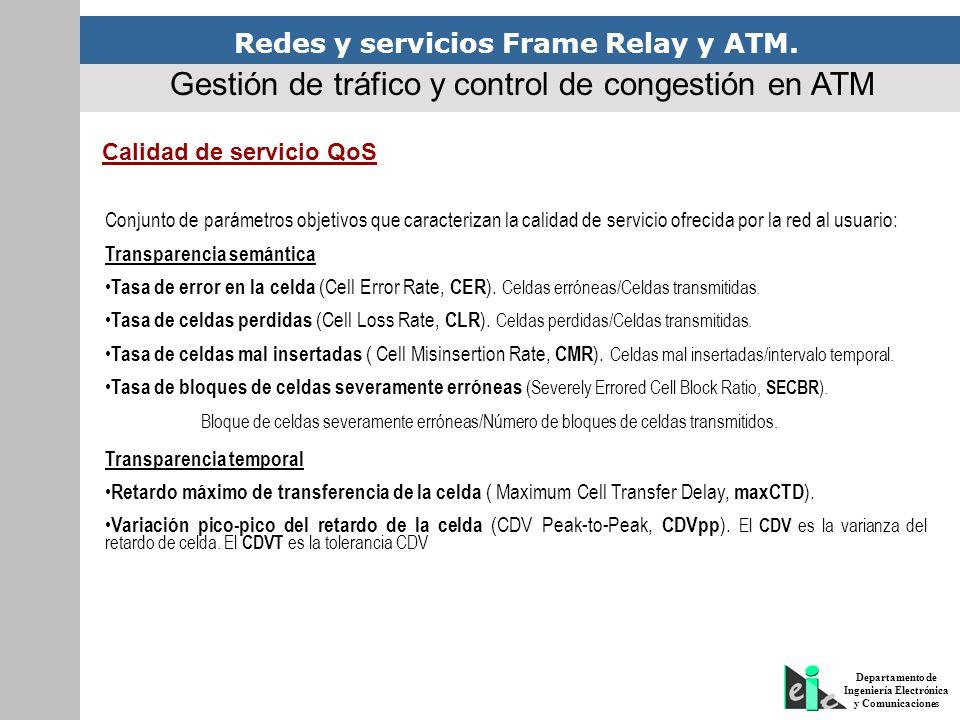 Redes y servicios Frame Relay y ATM. Departamento de Ingeniería Electrónica y Comunicaciones Gestión de tráfico y control de congestión en ATM Calidad
