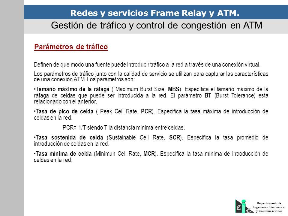 Redes y servicios Frame Relay y ATM. Departamento de Ingeniería Electrónica y Comunicaciones Gestión de tráfico y control de congestión en ATM Parámet