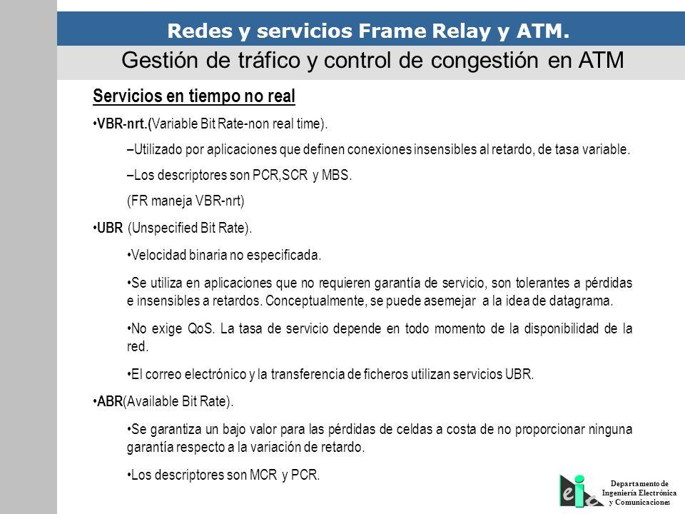 Redes y servicios Frame Relay y ATM. Departamento de Ingeniería Electrónica y Comunicaciones Servicios en tiempo no real VBR-nrt.( Variable Bit Rate-n