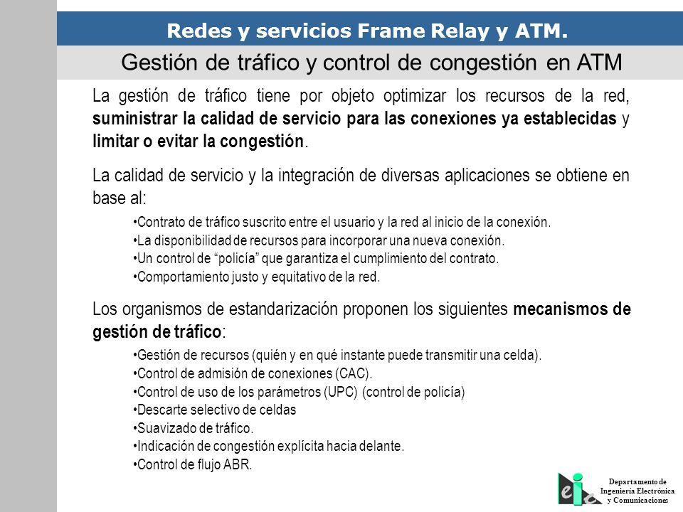 Redes y servicios Frame Relay y ATM. Departamento de Ingeniería Electrónica y Comunicaciones Gestión de tráfico y control de congestión en ATM La gest