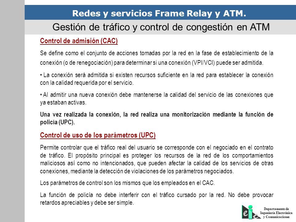 Redes y servicios Frame Relay y ATM. Departamento de Ingeniería Electrónica y Comunicaciones Gestión de tráfico y control de congestión en ATM Control