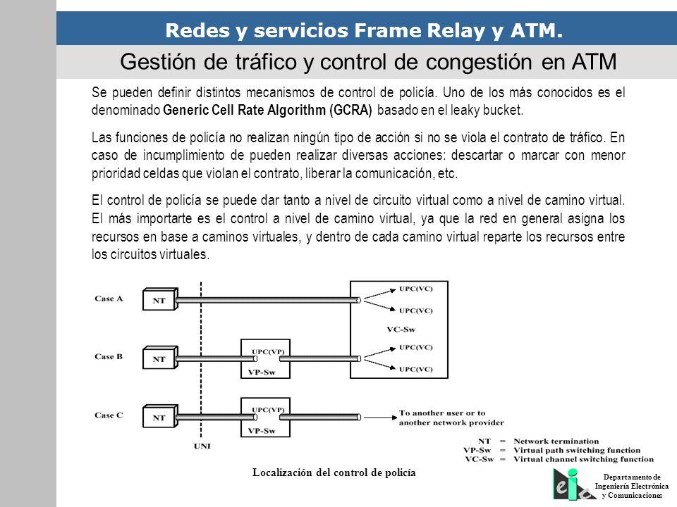 Redes y servicios Frame Relay y ATM. Departamento de Ingeniería Electrónica y Comunicaciones Gestión de tráfico y control de congestión en ATM Se pued