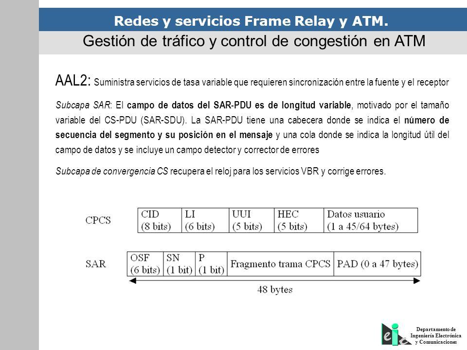 Redes y servicios Frame Relay y ATM. Departamento de Ingeniería Electrónica y Comunicaciones Gestión de tráfico y control de congestión en ATM AAL2: S