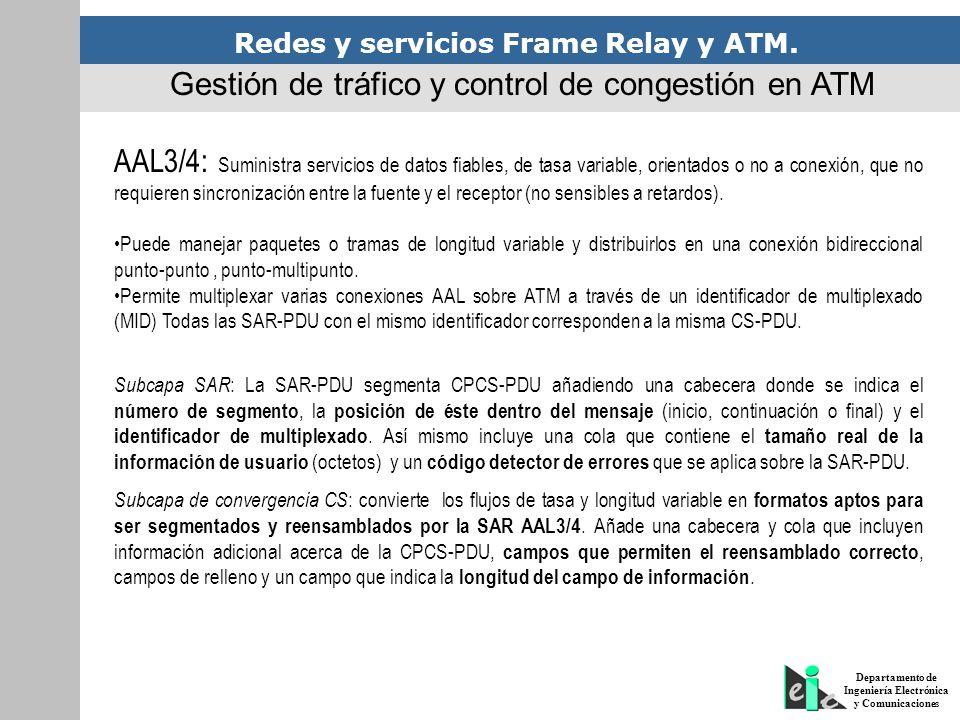 Redes y servicios Frame Relay y ATM. Departamento de Ingeniería Electrónica y Comunicaciones Gestión de tráfico y control de congestión en ATM AAL3/4: