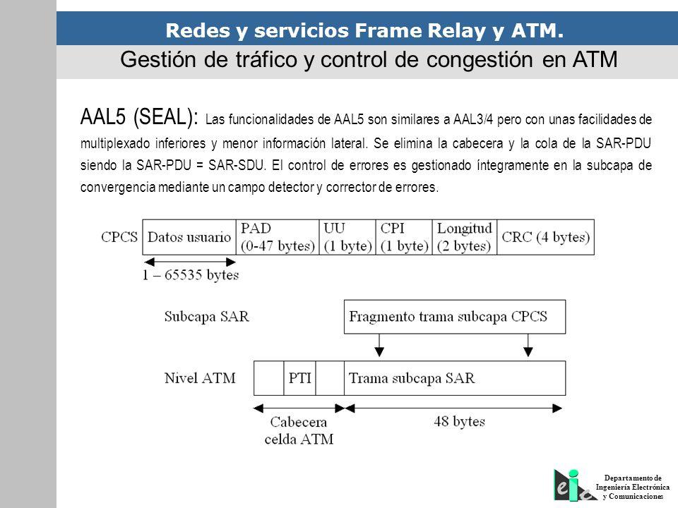 Redes y servicios Frame Relay y ATM. Departamento de Ingeniería Electrónica y Comunicaciones Gestión de tráfico y control de congestión en ATM AAL5 (S
