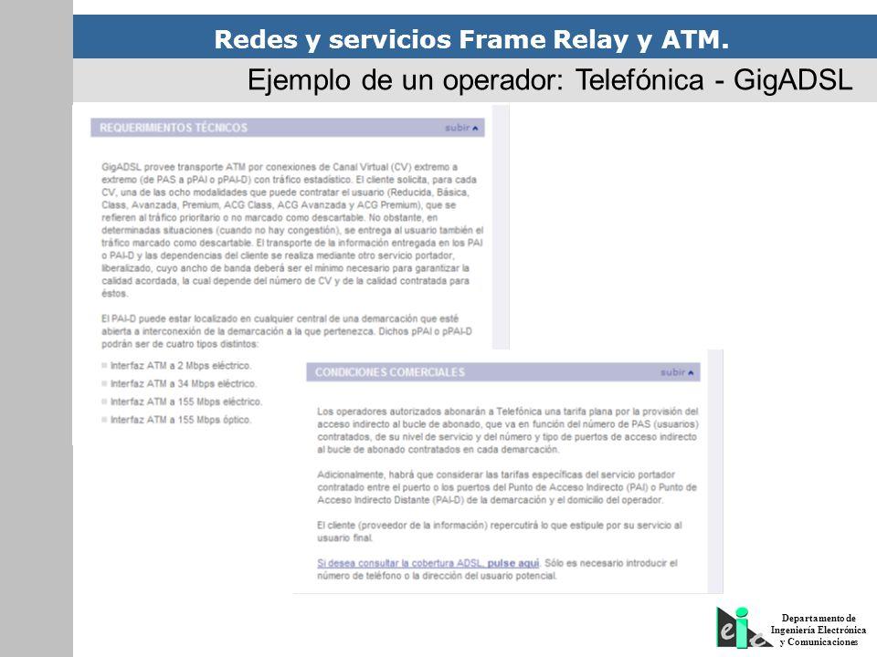 Redes y servicios Frame Relay y ATM. Departamento de Ingeniería Electrónica y Comunicaciones Ejemplo de un operador: Telefónica - GigADSL