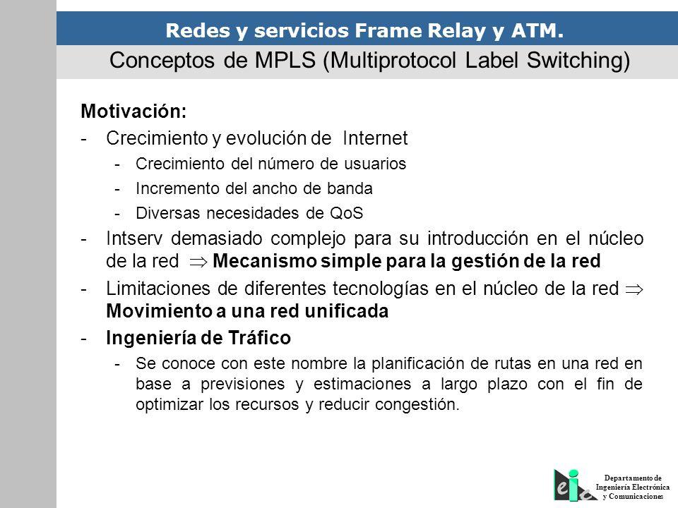 Redes y servicios Frame Relay y ATM. Departamento de Ingeniería Electrónica y Comunicaciones Motivación: -Crecimiento y evolución de Internet -Crecimi