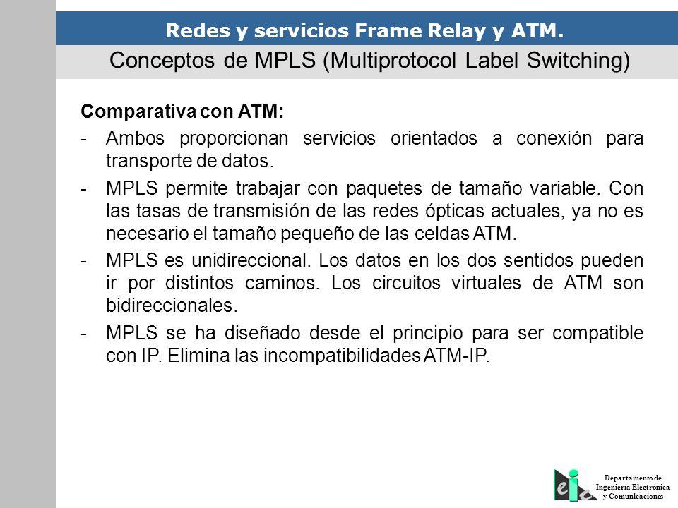 Redes y servicios Frame Relay y ATM. Departamento de Ingeniería Electrónica y Comunicaciones Comparativa con ATM: -Ambos proporcionan servicios orient