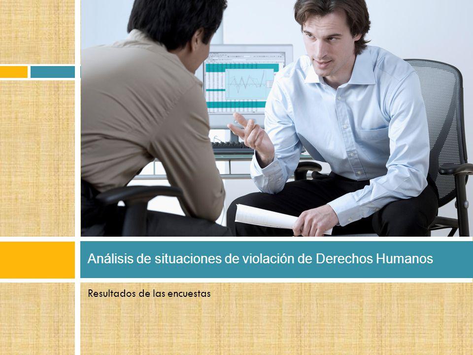 Resultados de las encuestas Análisis de situaciones de violación de Derechos Humanos