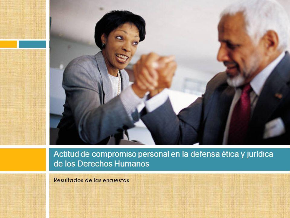 Resultados de las encuestas Actitud de compromiso personal en la defensa ética y jurídica de los Derechos Humanos