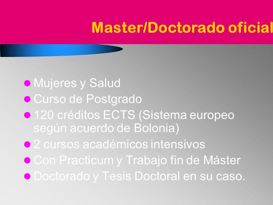 Mujeres y Salud Curso de Postgrado 120 créditos ECTS (Sistema europeo según acuerdo de Bolonia) 2 cursos académicos intensivos Con Practicum y Trabajo