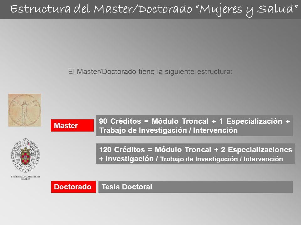 Master El Master/Doctorado tiene la siguiente estructura: Doctorado 90 Créditos = Módulo Troncal + 1 Especialización + Trabajo de Investigación / Inte
