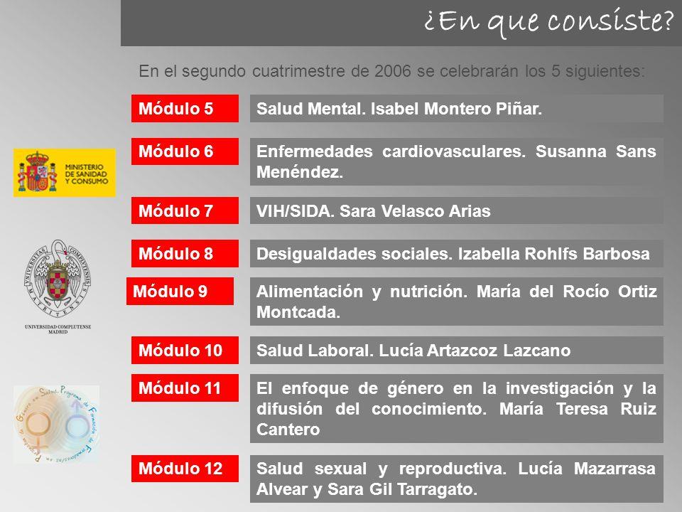 En el segundo cuatrimestre de 2006 se celebrarán los 5 siguientes: Módulo 5 Módulo 6Enfermedades cardiovasculares. Susanna Sans Menéndez. Salud Mental