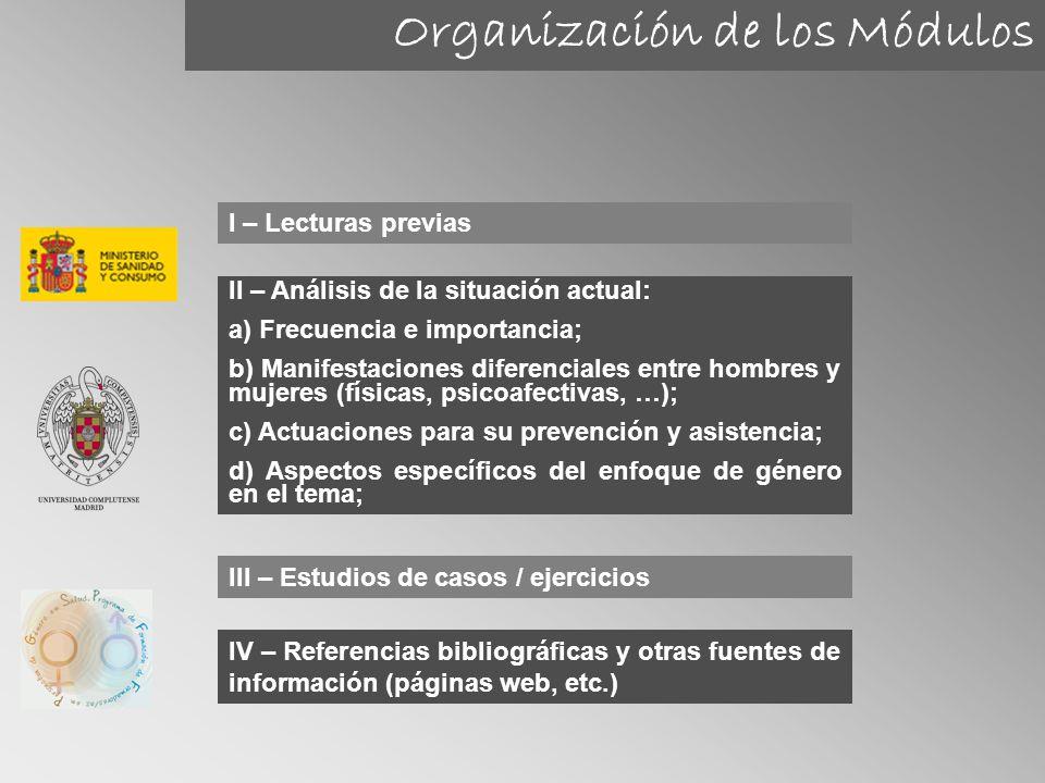 Organización de los Módulos I – Lecturas previas II – Análisis de la situación actual: a) Frecuencia e importancia; b) Manifestaciones diferenciales e