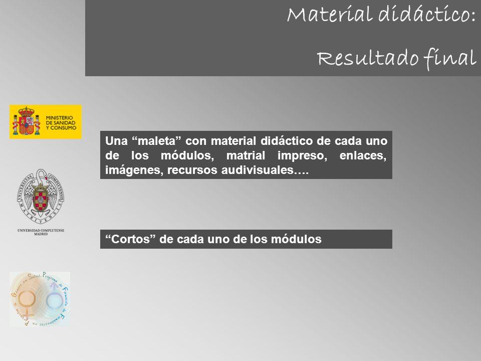 Material didáctico: Resultado final Una maleta con material didáctico de cada uno de los módulos, matrial impreso, enlaces, imágenes, recursos audivis