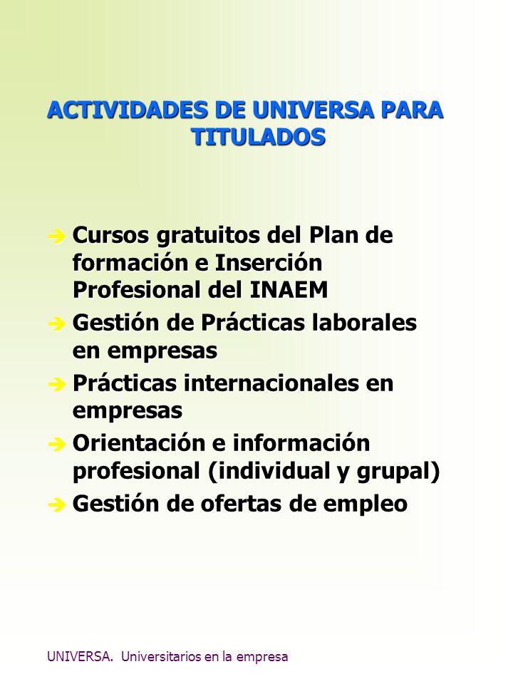 UNIVERSA. Universitarios en la empresa ACTIVIDADES DE UNIVERSA PARA TITULADOS è Cursos gratuitos del Plan de formación e Inserción Profesional del INA