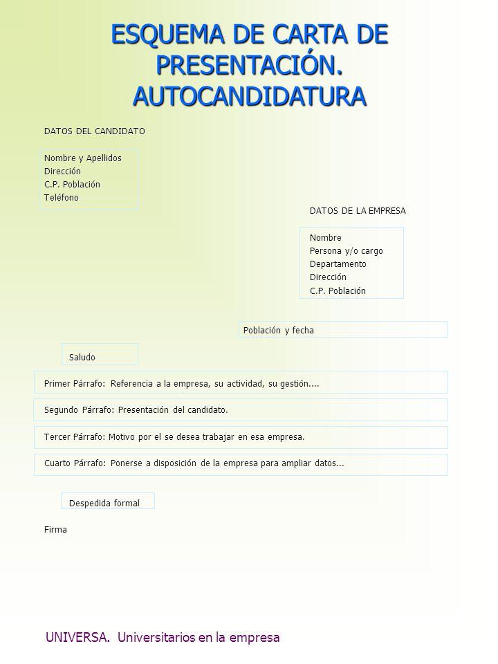 UNIVERSA. Universitarios en la empresa ESQUEMA DE CARTA DE PRESENTACIÓN. AUTOCANDIDATURA DATOS DEL CANDIDATO Nombre y Apellidos Dirección C.P. Poblaci