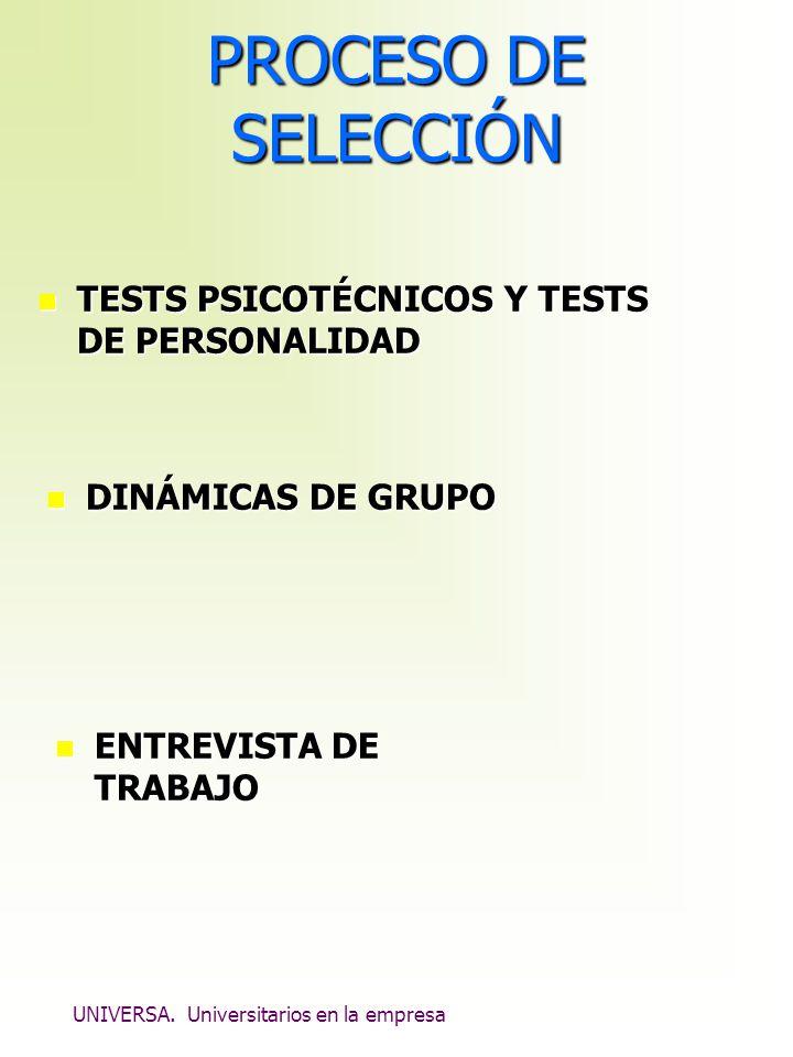 UNIVERSA. Universitarios en la empresa PROCESO DE SELECCIÓN n TESTS PSICOTÉCNICOS Y TESTS DE PERSONALIDAD n DINÁMICAS DE GRUPO n ENTREVISTA DE TRABAJO