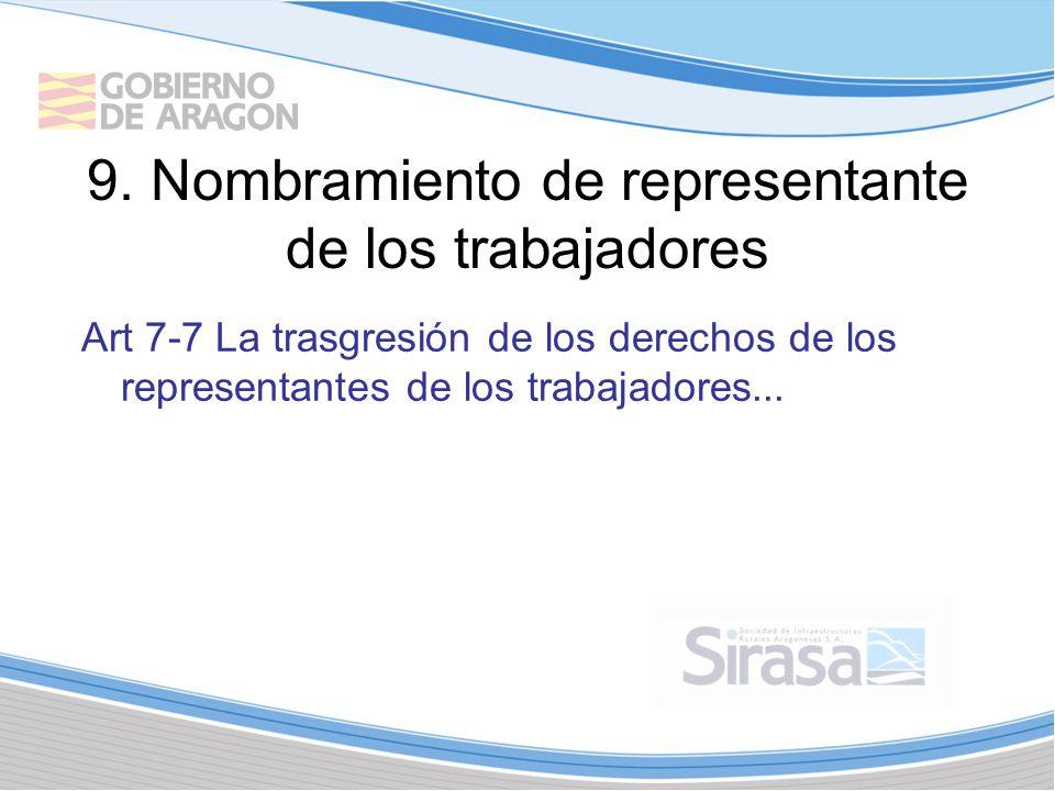 9. Nombramiento de representante de los trabajadores Art 7-7 La trasgresión de los derechos de los representantes de los trabajadores...