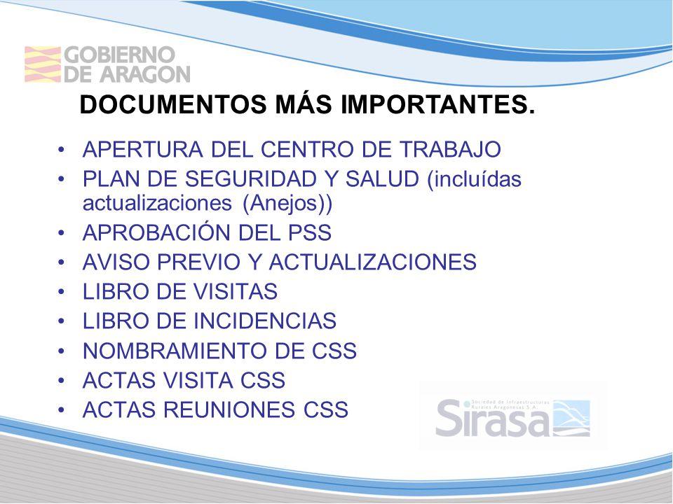 APERTURA DEL CENTRO DE TRABAJO PLAN DE SEGURIDAD Y SALUD (incluídas actualizaciones (Anejos)) APROBACIÓN DEL PSS AVISO PREVIO Y ACTUALIZACIONES LIBRO DE VISITAS LIBRO DE INCIDENCIAS NOMBRAMIENTO DE CSS ACTAS VISITA CSS ACTAS REUNIONES CSS DOCUMENTOS MÁS IMPORTANTES.