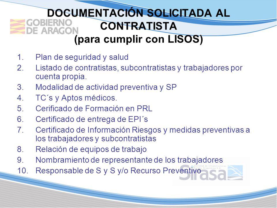DOCUMENTACIÓN SOLICITADA AL CONTRATISTA (para cumplir con LISOS) 1.Plan de seguridad y salud 2.Listado de contratistas, subcontratistas y trabajadores por cuenta propia.