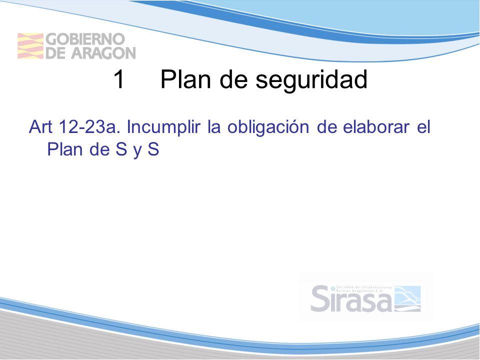 1Plan de seguridad Art 12-23a. Incumplir la obligación de elaborar el Plan de S y S