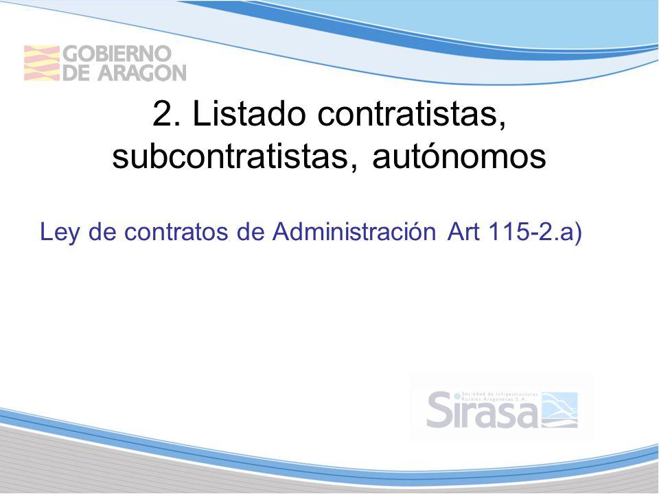 2. Listado contratistas, subcontratistas, autónomos Ley de contratos de Administración Art 115-2.a)
